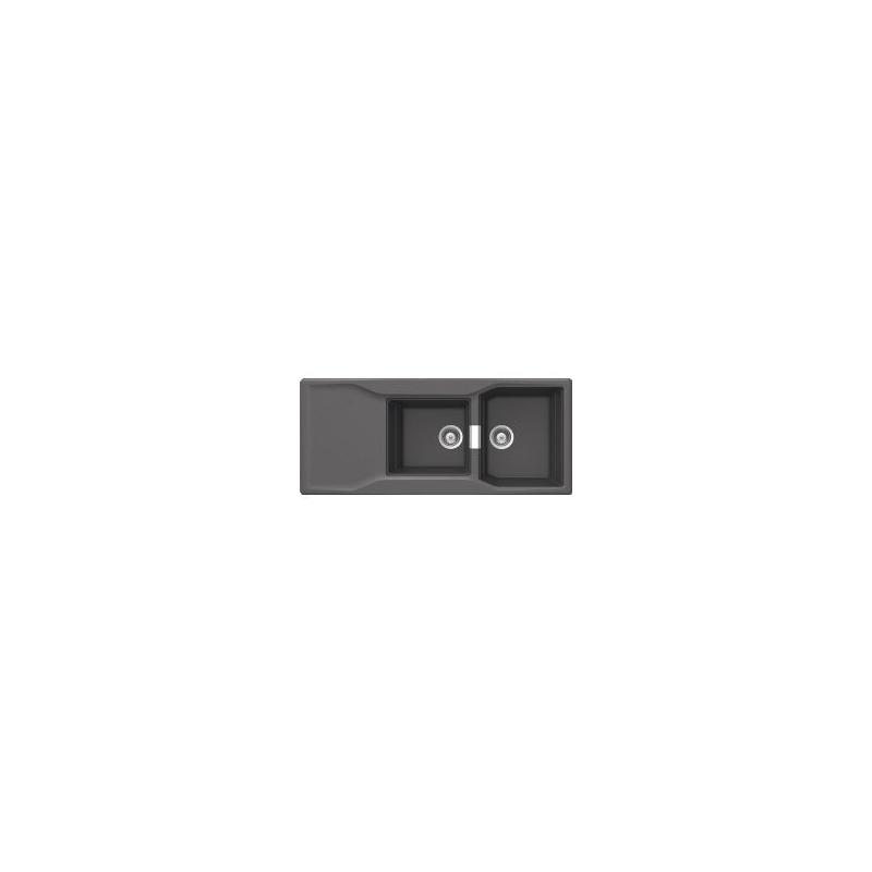 LAVELLO INCASSO SCHOCK IMAGO D200AP12 ANTIBATTERICO 2 VASCHE + G, 116x50 COL NERO STEEL12