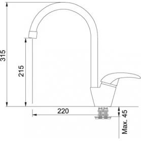MISCELATORE FRANKE PLATINO 0737490 COLORE CROMATO CANNA ALTA 115.0029.586