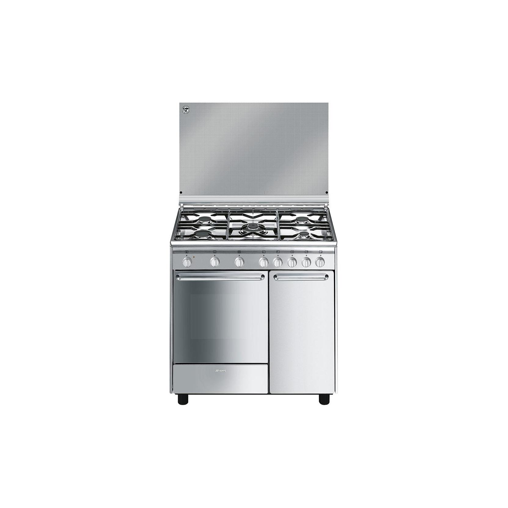 Cucina smeg cx9sv2 90 x 60 inox 5 fuochi forno elettrico classe a garanzia italia elettrovillage - Cucina a gas 5 fuochi ...