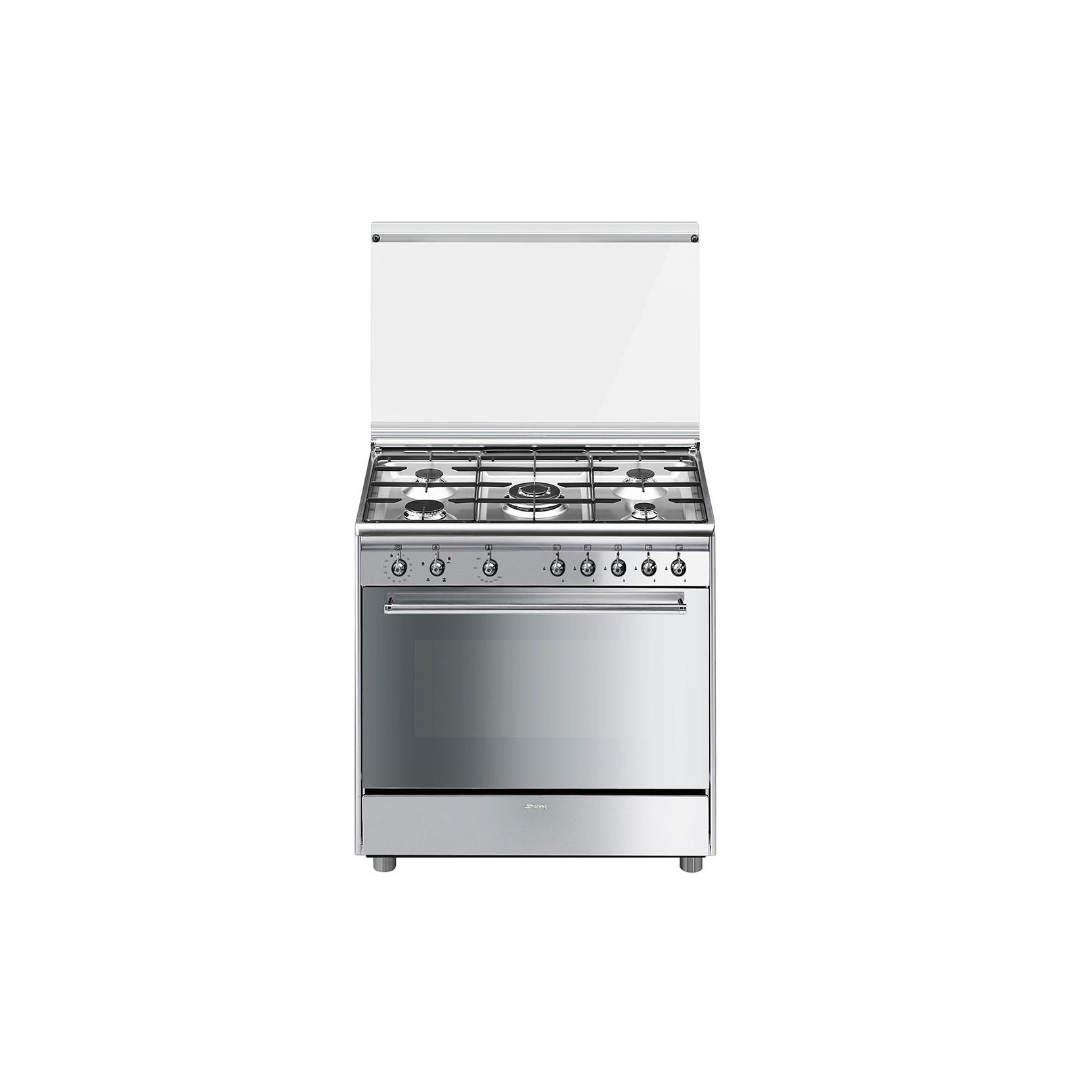 Cucina smeg sx91gve9 forno gas ventilato 5 fuochi 90x60cm colore inox classe a garanzia italia - Cucina a gas smeg ...
