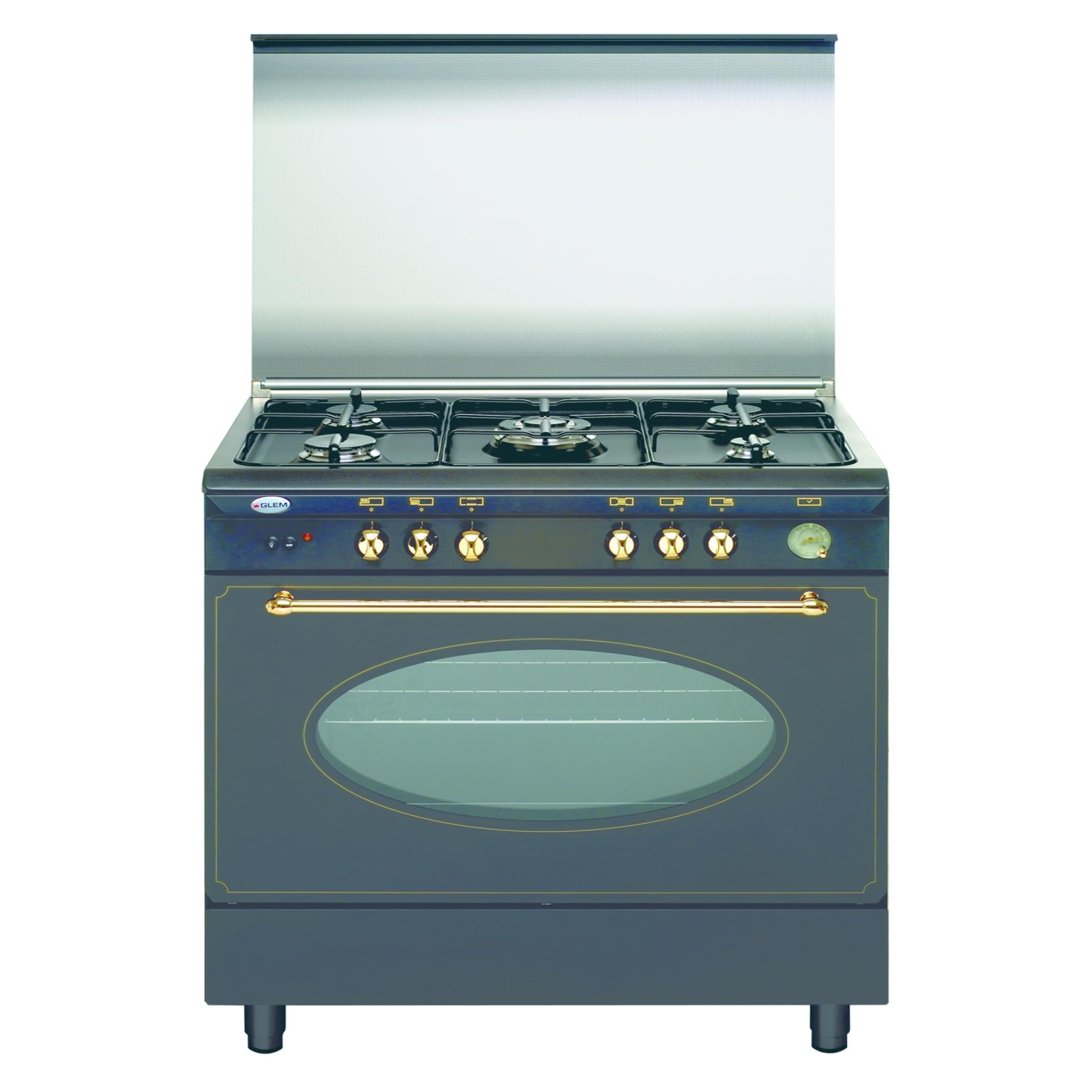 Glem gas unica ua96tr2 cucina a gas 5 fuochi 90x60 forno a gas nero garanzia italia elettrovillage - Cucina a gas 5 fuochi ...