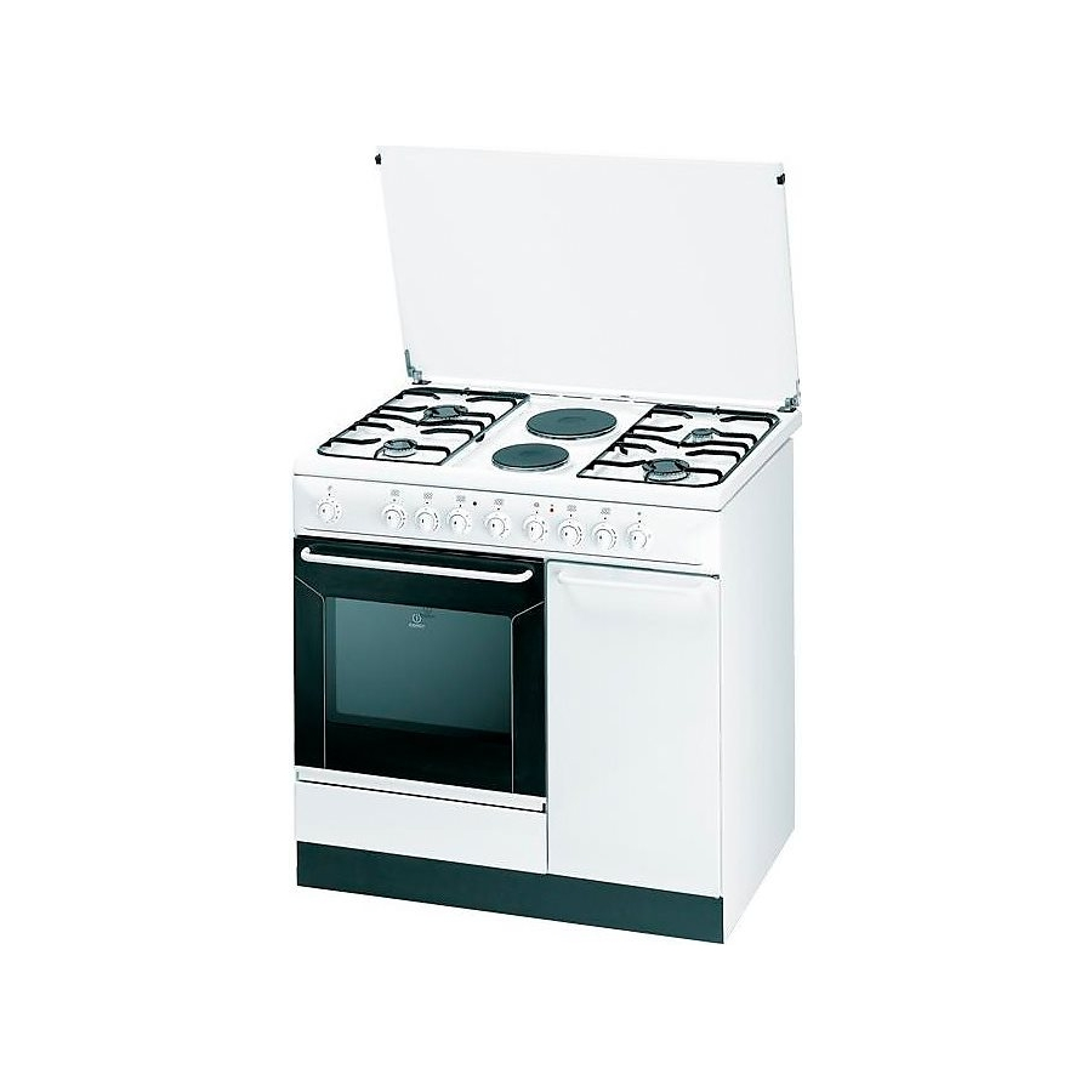 Cucina indesit k9b11sb w i con porta bombola 90x60 bianca 4 fuochi 2 piastre elettriche - Cucine a gas indesit ...