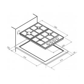 PIANO COTTURA BOMPANI BO217LA/N 4 FUOCHI 60 x 50 COLORE RUSTICO NERO - GARANZIA ITALIA - PROMOZIONE