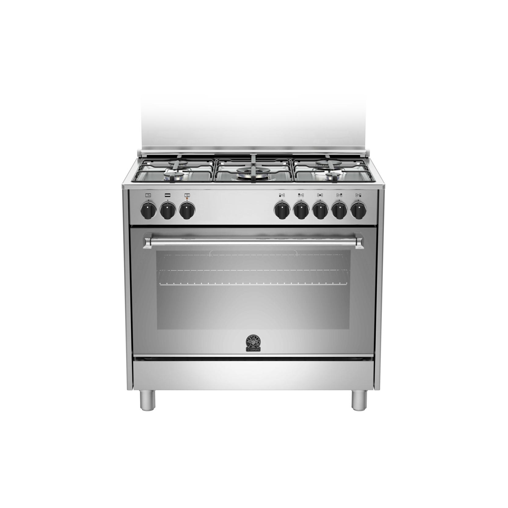 Cucina la germania amn905mfesxe 5 fuochi a gas forno elettrico multifunzione inox 90x60 - Cucina a gas 5 fuochi ...