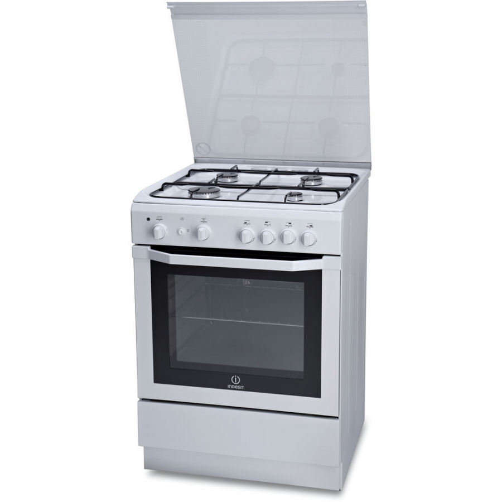 Cucina indesit i6gg1f 1 w i bianca 60x60 4 fuochi forno a for Cucina 6 fuochi zanussi usata