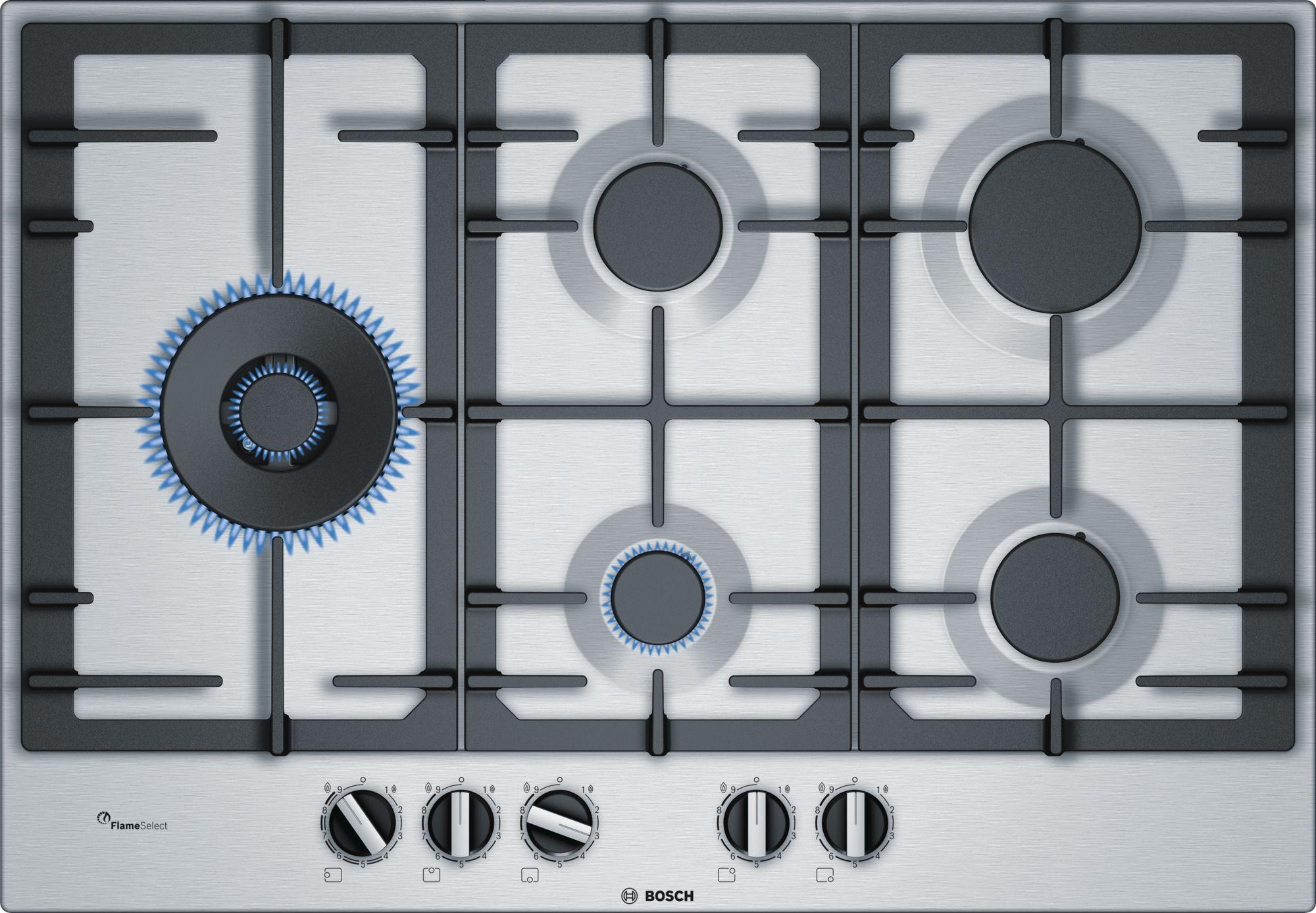 PIANO COTTURA BOSCH PCS7A5B90 5 FUOCHI TRIPLA CORONA 75 CM INOX ...