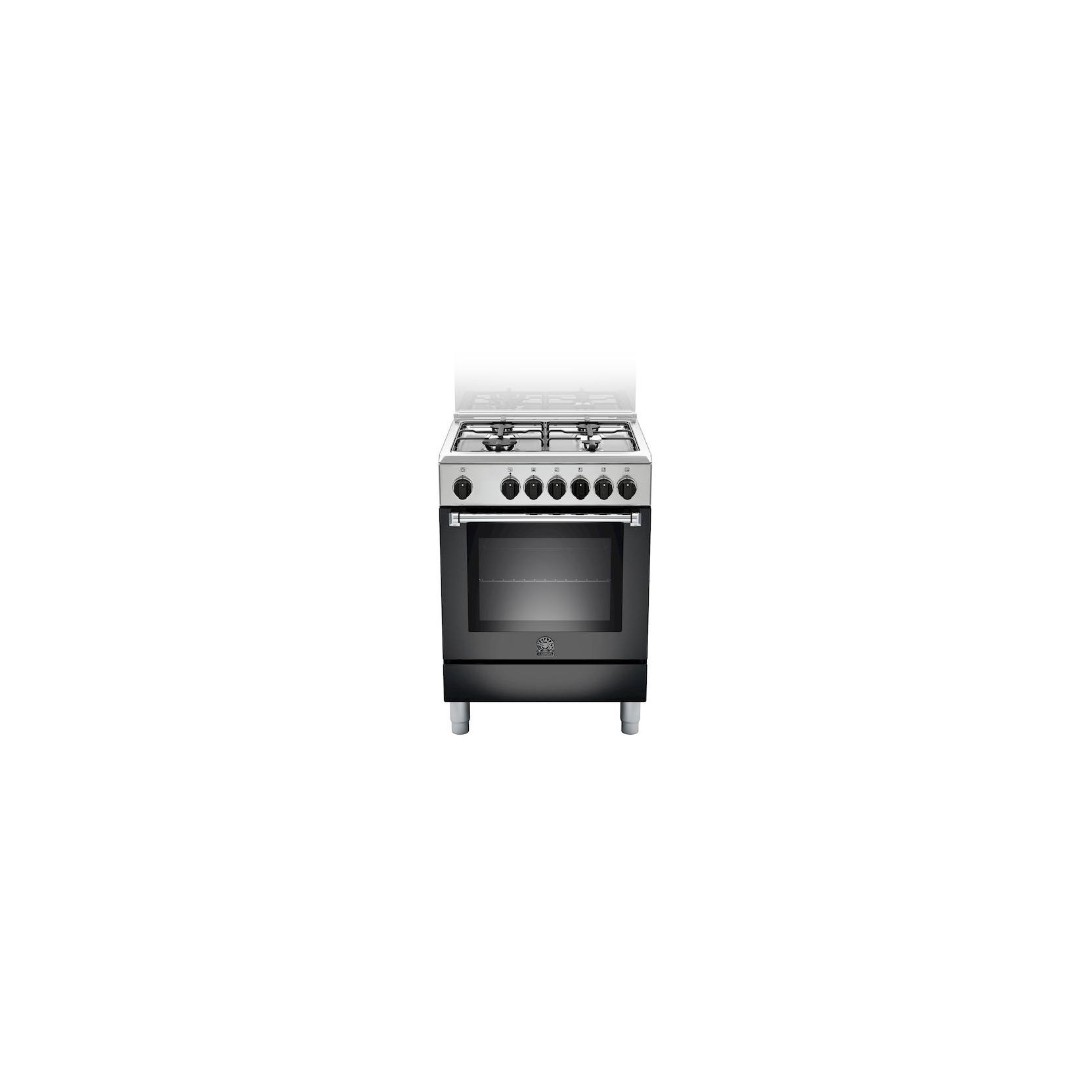 Cucina la germania amn604mfesnee 60x60 nera 4 f a gas forno elettrico multifunzione garanzia - Cucine a gas la germania ...