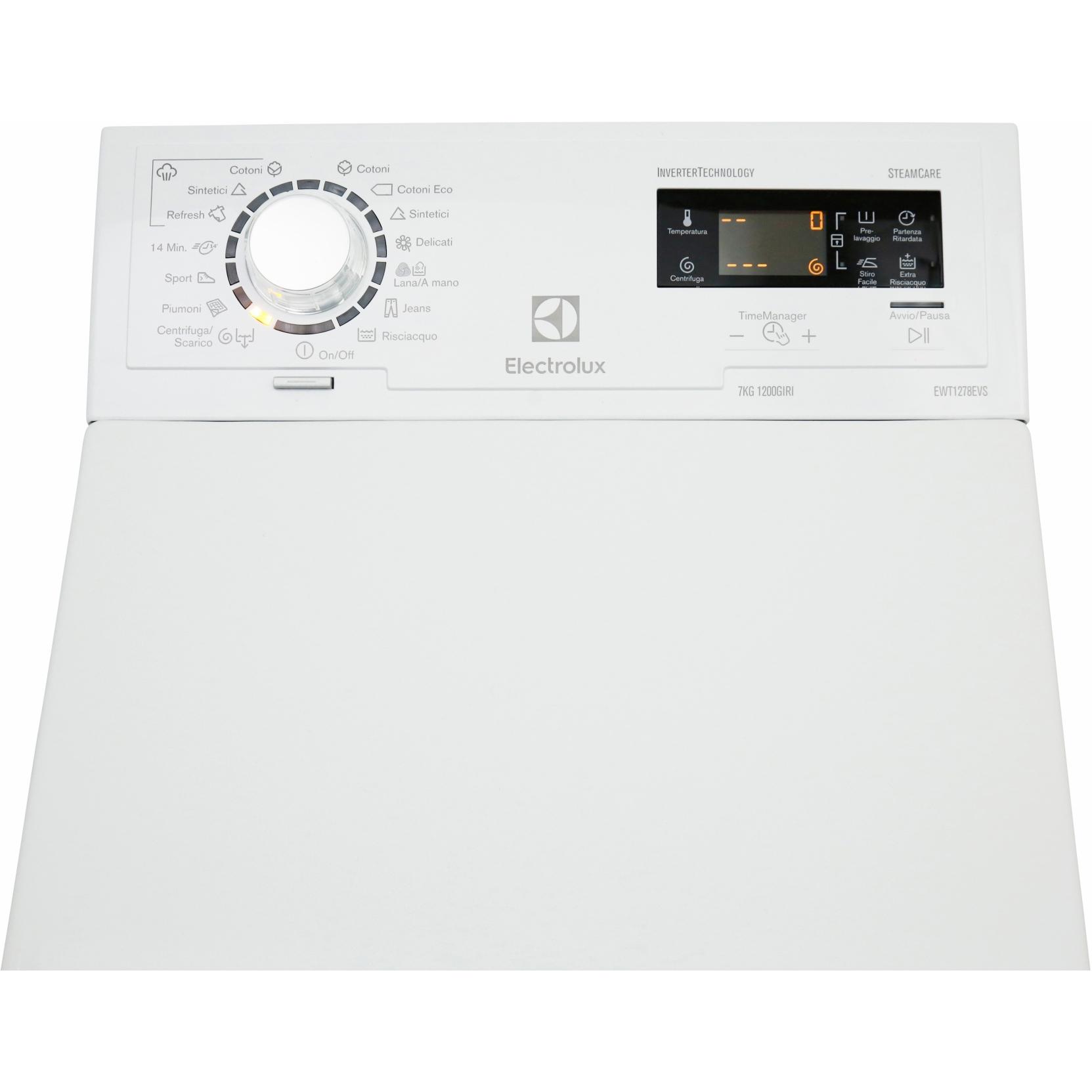 Lavatrice carica alto rex elettrolux ewt1278evs 7 kg 1200 for Lavatrice carica dall alto 8 kg