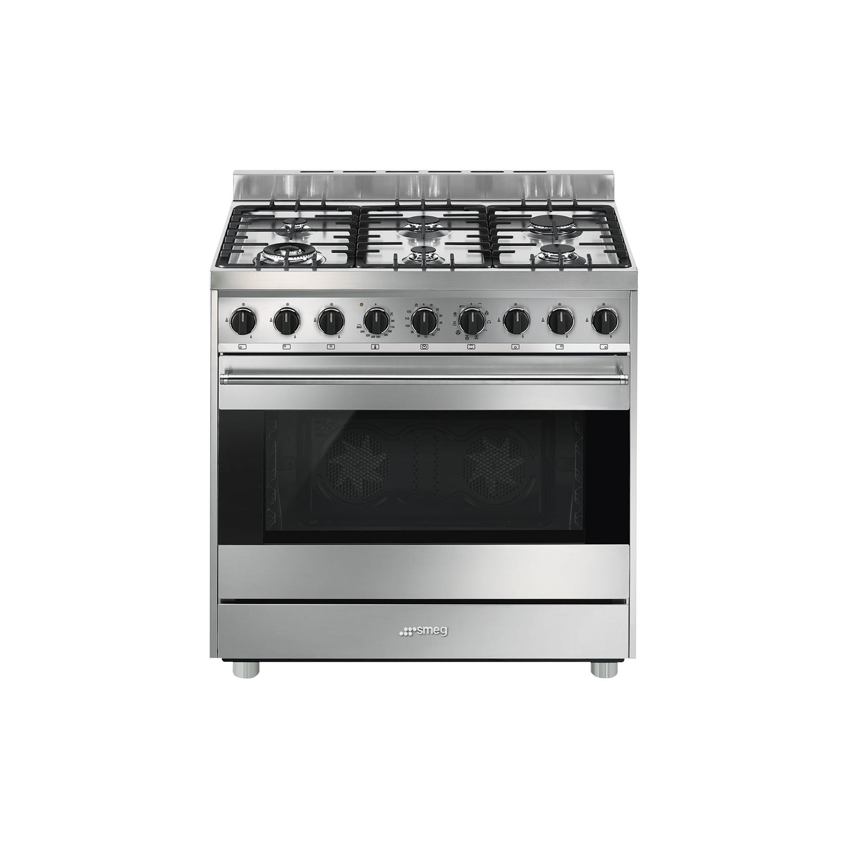 Smeg b9gmxi9 cucina a gas forno elettrico multifunzione 90x60 cm inox garanzia italia - Cucina a gas smeg ...