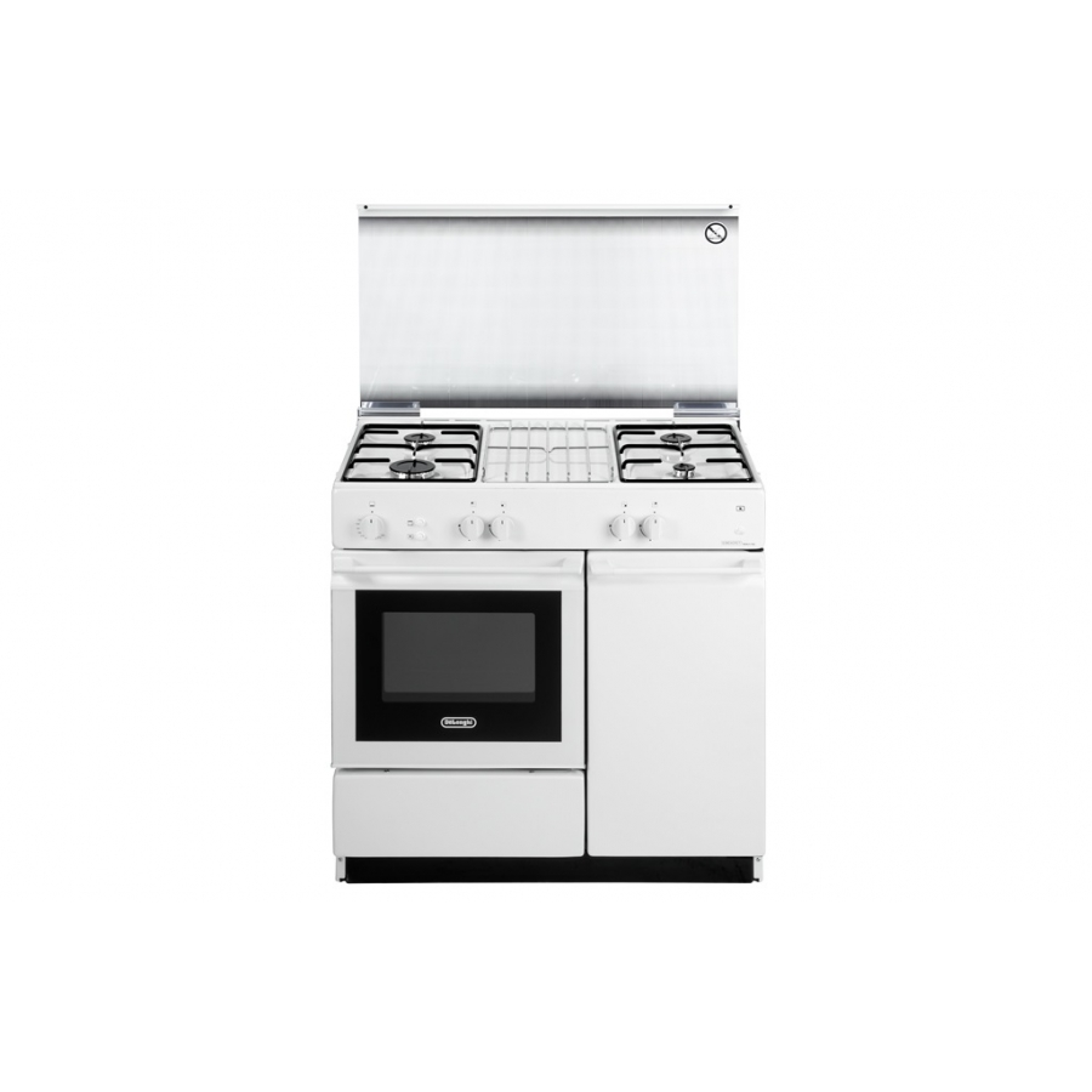 Cucina de longhi sggw854n bianca 86x50 forno a gas con for Stufe a gas metano de longhi