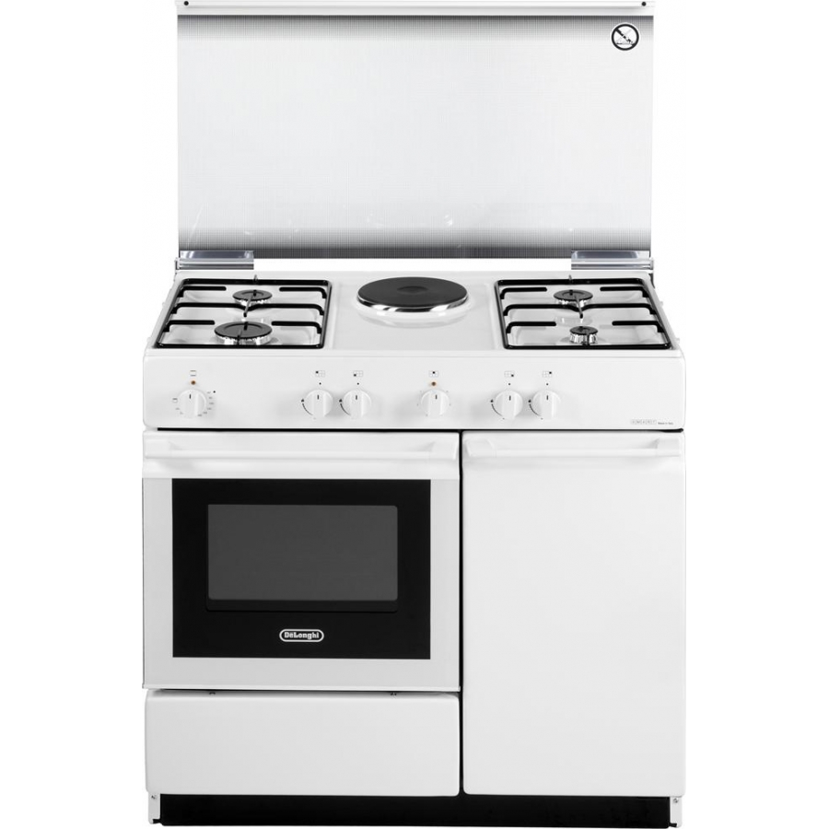 Cucina de longhi sew8541n bianca 86x50 4 fuochi 1 piastra forno elettrico garanzia italia - Cucine a gas samsung ...