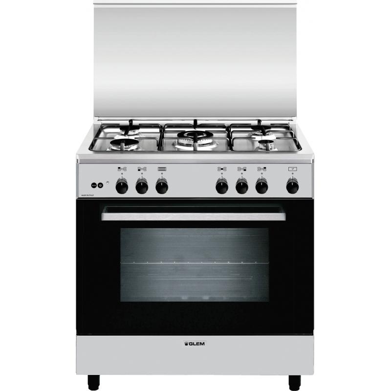 Glem a855gi cucina 5 fuochi a gas 80x50cm forno a gas inox for Cucina 8 fuochi zanussi