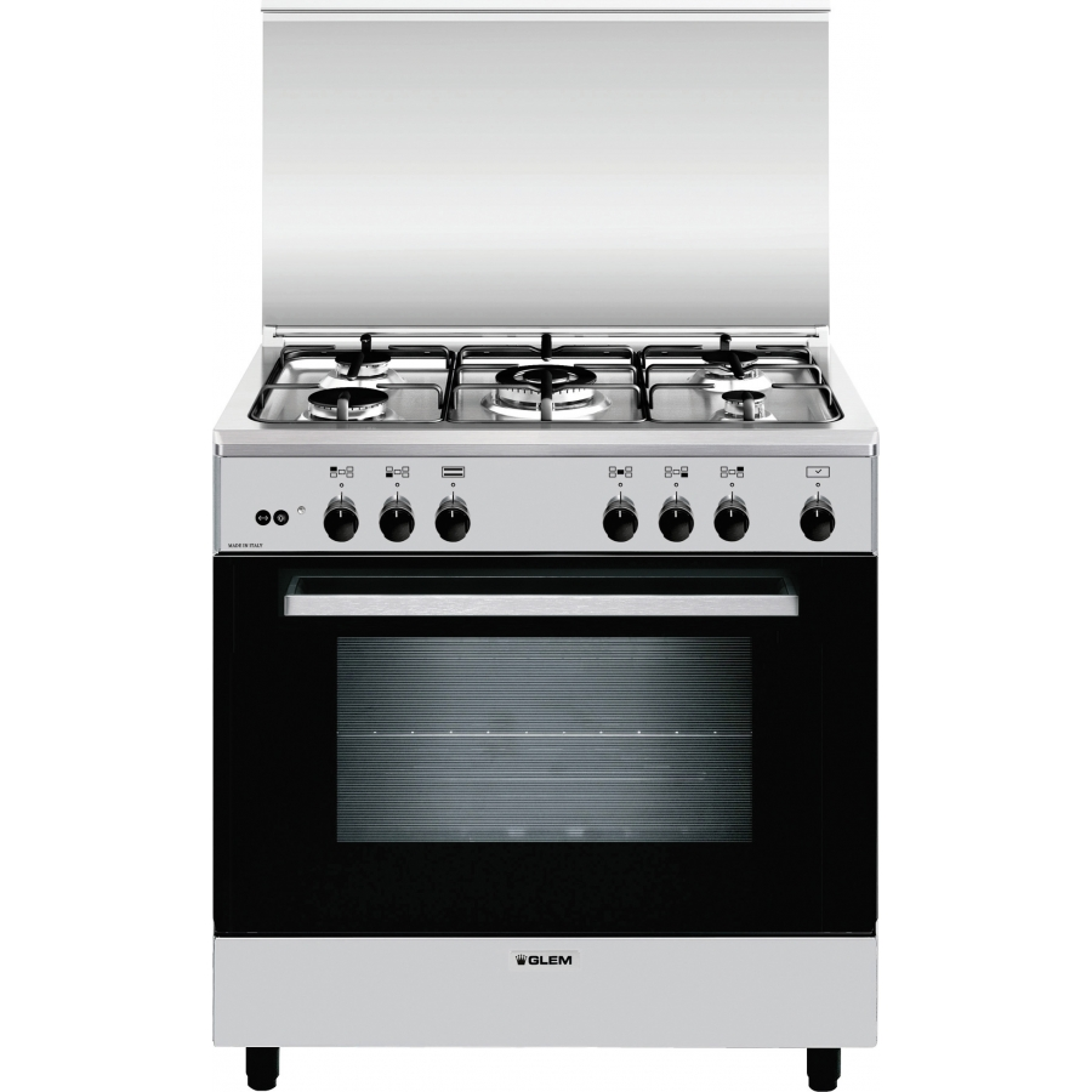 Glem a855gi cucina 5 fuochi a gas 80x50cm forno a gas inox - Eprice cucine a gas ...