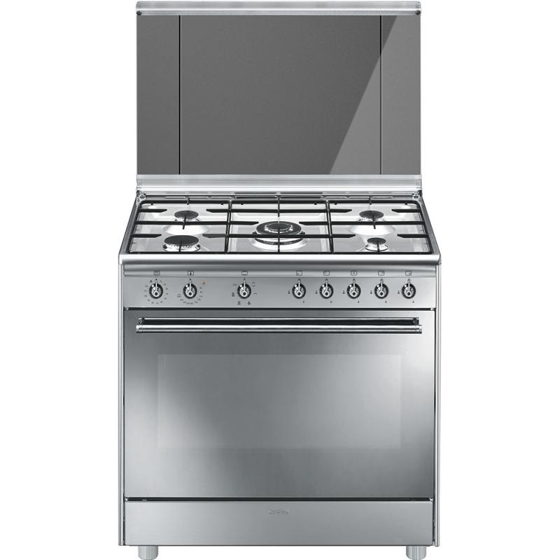 Cucina smeg sx91sv9 5 fuochi forno multifunzione dimensione 90 x 60cm colore inox classe a - Cucina a gas smeg ...