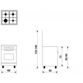 GLEM GAS CUCINA ELETTRICA A654MI6 4 FUOCHI A GAS FORNO ELETTRICO CLASSE A 60x50 COLORE INOX - PROMO