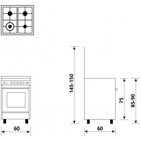 GLEM GAS U664VI CUCINA A GAS 4 FUOCHI FORNO A GAS 60x60 CM COLORE INOX - PROMO