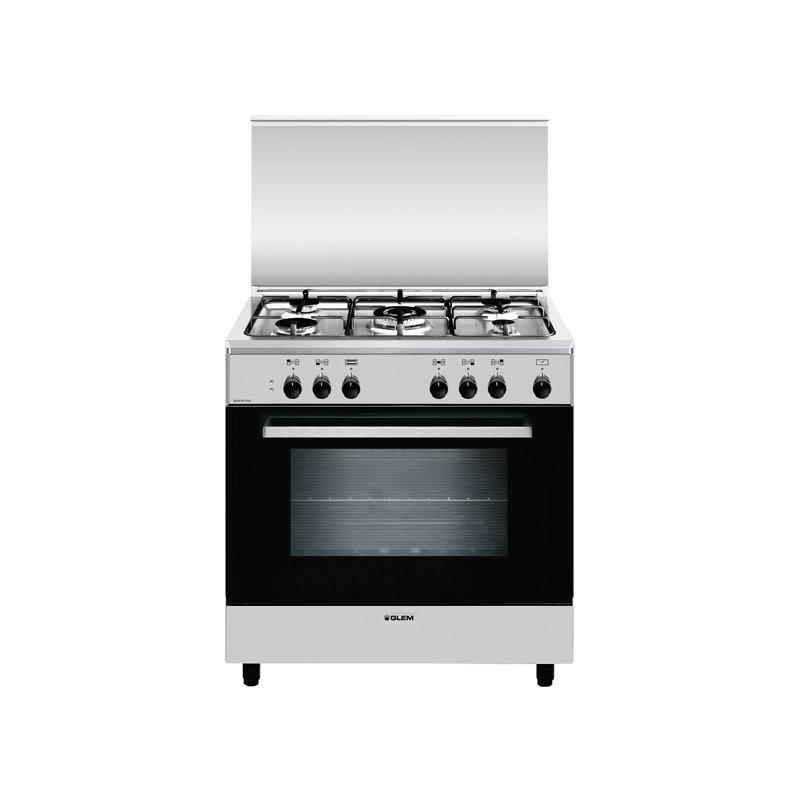 Glem Gas A855ei Cucina A Gas 5 Fuochi Forno Elettrico 80x50 Cm Colore Inox Classe A Promo