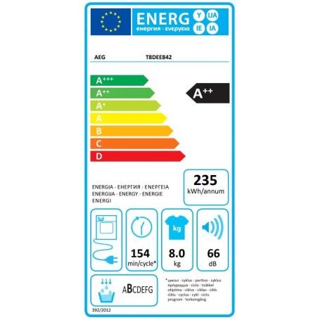 AEG T8DEE842 asciugatrice a pompa di calore 8 Kg classe A++