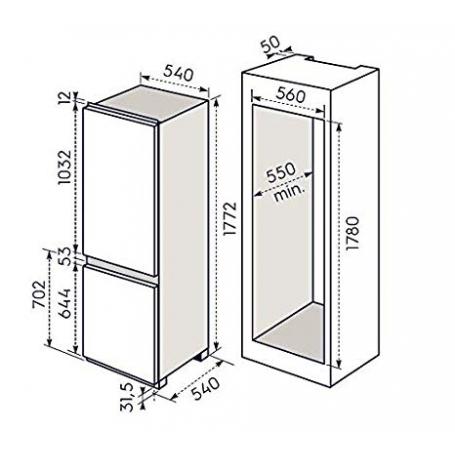 ELECTROLUX REX FI22/12NV FRIGORIFERO COMBINATO DA INCASSO 280 LT 178 CM  CLASSE A+ - PROMOZIONE